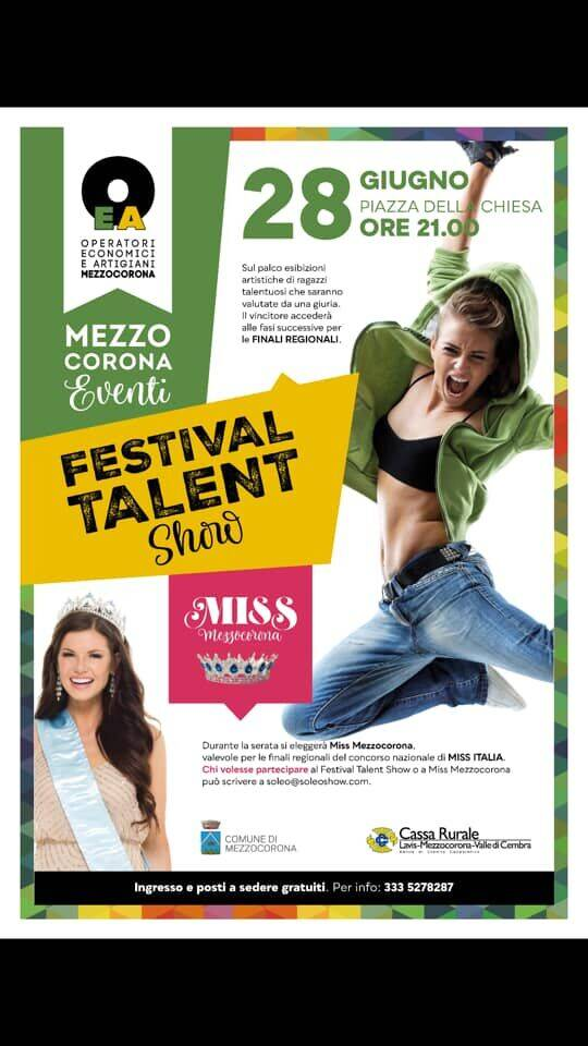 Grande Evento Calendario.Grande Evento A Mezzocorona Festival Talent Show E Miss